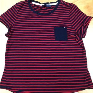 Tommy Hilfiger striped t shirt with pocket L